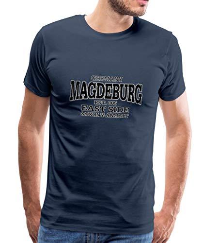 Spreadshirt Magdeburg Sachsen Anhalt Retro Männer Premium T-Shirt, XXL, Navy