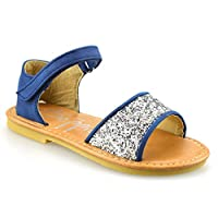 Beppi Girls Kids Infants Low Heel Touch Strap Summer Party Glitter Sandals Shoes Size[UK 10 Infant,Navy]