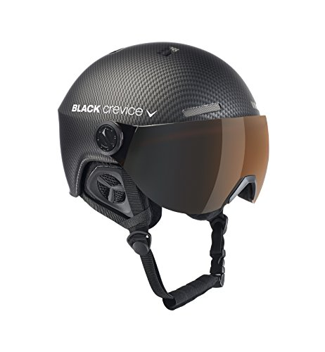 Black Crevice Gstaad - Casco da sci per adulti, schwarz carbon /Visor orange, S/M (54-57 cm)
