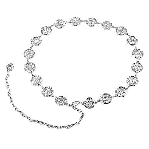 Audixius Damen Metall Runde Dekoratives Kleidzusätze Ketten Feines Weibliches Taillengürtel,Silber