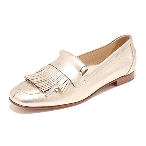 96482 mocassino TOD'S CUOIO SP MAXI FRANGIA oro scarpa donna loafer shoes women Oro