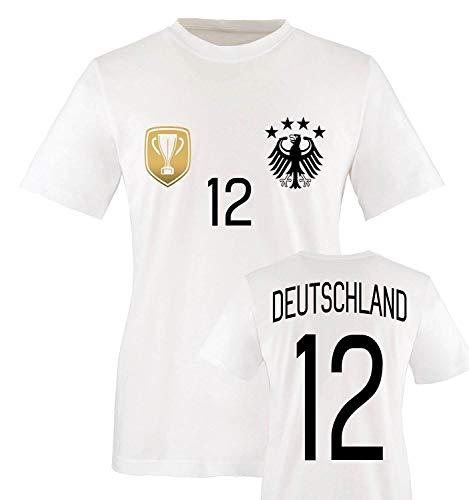 Trikot - Deluxe 2016 - Deutschland - 12 - Kinder T-Shirt - Weiss/Schwarz-Gold Gr. 152-164