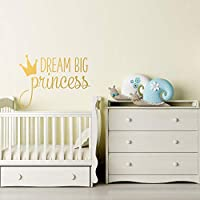 Dream Big Princess Wall Decal with Crown for Girls Nursery Decor- Girls Room Wall Decal- Wall Decals Nursery- Wall Decal Little Girl #208