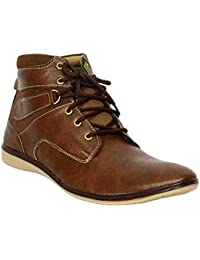 Mobile Solutions Men's Party Wear Brown Casual Boots Laced -up Comfortable Wear Shoes / All Sizes