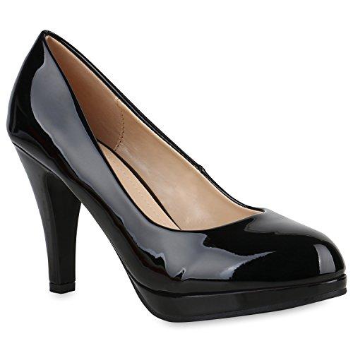 Klassische Damen Pumps Stiletto High Heels Lack Leder-Optik Schuhe 154355 Schwarz Carlton 36 Flandell -