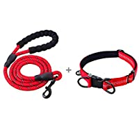 U-picks Dog Lead and Collar Set, Strong Rope Dog Lead with Premium Dog Collar Comfort and Reflective for Medium Large Dog-Red