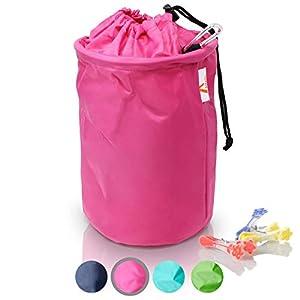Amazy XXL Wäscheklammerbeutel - Extra-robuster Klammerbeutel mit Karabinerhaken zur Aufbewahrung von bis zu 200 Wäscheklammern für drinnen und draußen (Pink | 30 x 20 cm)