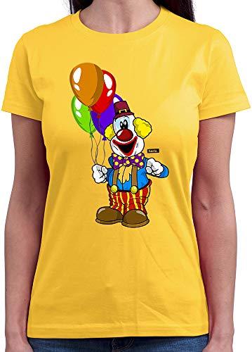 HARIZ  Damen T-Shirt Rundhals Clown Luftballons Fröhlich Karneval Kostüm Inkl. Geschenk Karte Gold Gelb M (Kostüm Luftballons)