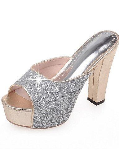 LFNLYX Chaussures Femme-Mariage / Décontracté / Soirée & Evénement / Habillé-Noir / Rose / Argent / Or-Gros Talon-Talons-Sandales-Paillette Black
