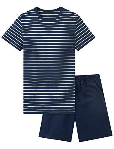 Schiesser Jungen Anzug kurz Zweiteiliger Schlafanzug, (Blau 800), 176 (Herstellergröße: L)