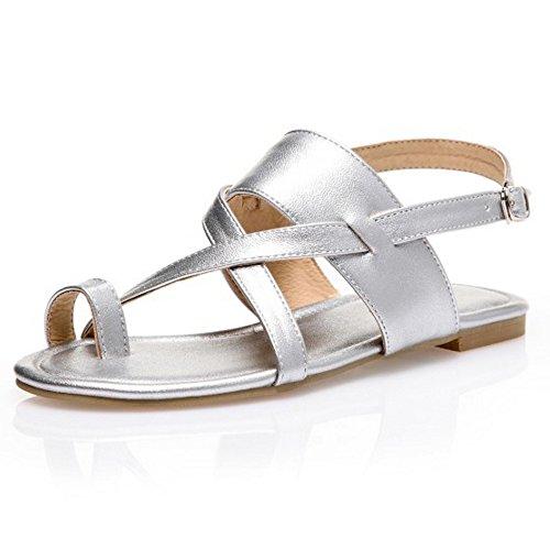 TAOFFEN damen Strappy Split Toe Schnalle Strap Slingback Sommer Flach Sandalen Silber