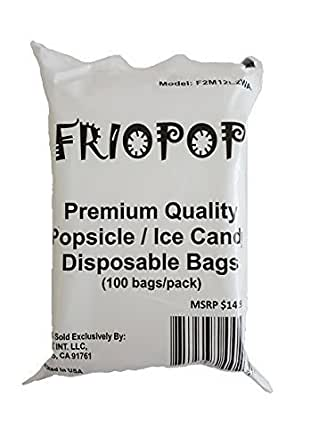 FRIOPOP Premium Quality Ice Cream Maker Popsicle Mold Ice Candy Disposable Bags (100 bags/package)