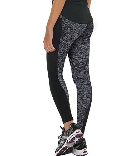 Damen Modische Yogahose Yoga Pants Sporthose Fitness Leggings Hoher Bund Tights Pants Casual Trousers Workout Schwarz Und Grau M