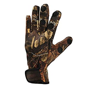Layjjiyun Fishing Glove Camouflage Outdoor Gloves 3 Cut Fingers Durable Keep Warm Fishing Tool for Mountaineering Run Friend Motion (Size:XL)