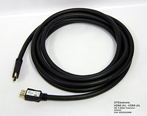 22 Lcd-720p Hdtv (5M extra langes HDMI (A) auf HDMI (A) Kabel im besonders leistungsfähigen Industriestandard mit AWG22 Qualität 22 (Ø) 0,64mm Querschnitt für lange Kabelstrecken und minimalem Datenverlust: HDMI A - HDMI A, schwarz black 5 Meter)