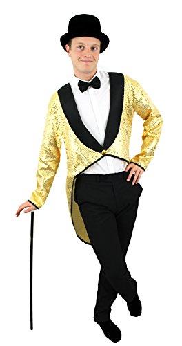 Herren Gold Pailletten Frack + schwarz TOP HAT fancy dress Zubehör Set Dance zeigt Musicals Outfit Cabaret Unisex Schwanz Fell (Großhandel Kostüm Top Hats)