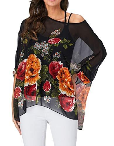 11533e0d2c Bluse Chiffon Damen Elegant Oberteile Blumen Frauen Tunika Boho Hippie T  Shirt Fledermausärmel Sommer Pullover 3