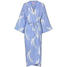 47c82b2ebff9 Robe de Chambre Femme - Kimono Coton Femme - Yukata Peignoir 100% Coton  Organique Blue