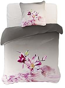 155x220 cm rosa lila grau weiß 3D Microfaser Bettwäsche Bettbezug Bettwäschegarnitur mit einem Kissenbezug 80x80 cm Blume Blumenmotiv RASPBERRY