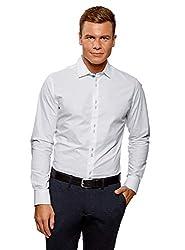 oodji Ultra Herren Tailliertes Hemd mit Langen Ärmeln, Weiß, Herstellergröße 40 (Kragenweite 40 cm)/ DE 48 / S