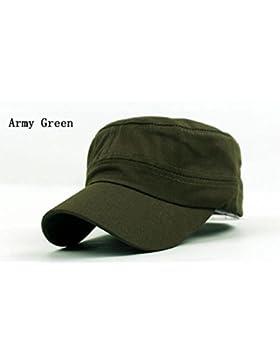Moda Mujer Hombre Unisex Cadete visera plana negra de algodón Gorra militar sombrero para el sol, verde del Ejército...