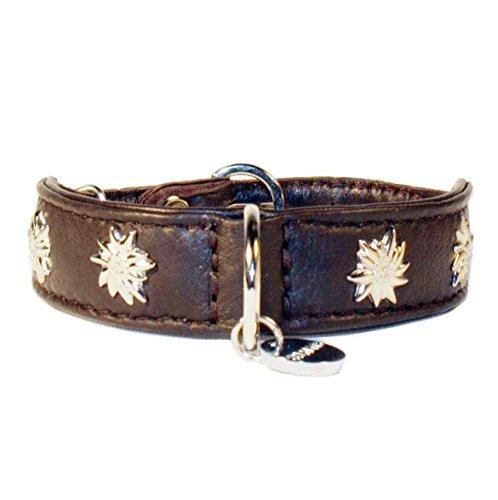 Lederhalsband Tracht Halsband Edelweiß Nappaleder/40cm/braun