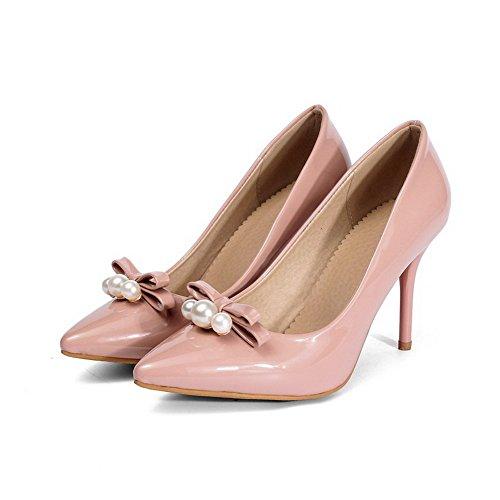 VogueZone009 Damen Pu Leder Rein Ziehen Auf Spitz Zehe Hoher Absatz Pumps Schuhe Pink