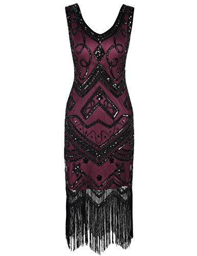PrettyGuide Damen Flapper Kleid 1920er Gatsby Perlen Pailetten Cocktailkleid M (Rote Kleid Flapper Fransen)