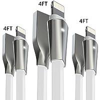 Cable Lightning iPhone, Aimus (1.2M+1.2M+1.2M-Blanco) Cable Cargador iPhone Lightning a USB Cable Lead de TPE con Indicador LED para iPhone X / 8 / 8 Plus / 7 / 7 Plus / 6S / 6S Plus / 6 / 6 Plus / SE / 5S / 5C / 5, iPad Mini 2 3 4 Air IOS11