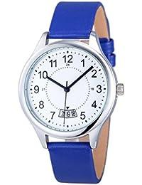 Relojes Pulsera Mujer, Xinan Fecha Satin Cuero Deporte Analógico Cuarzo Reloj de pulsera del ejército (Azúl)