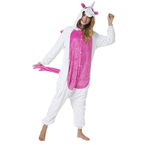 Kigurumi Onesie Tuta Costume Animale per Carnevale, Party, Festa, Cosplay Monopezzo, Pigiama Unicorno lilla - Altezza 165-175cm(L) Unicorno Bianco