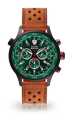DETOMASO AURINO Montre pour Hommes Chronographe Chronographe Analogique Quartz Brun Clair Bracelet Cuir Vert Cadran Vert DT1061-K-839