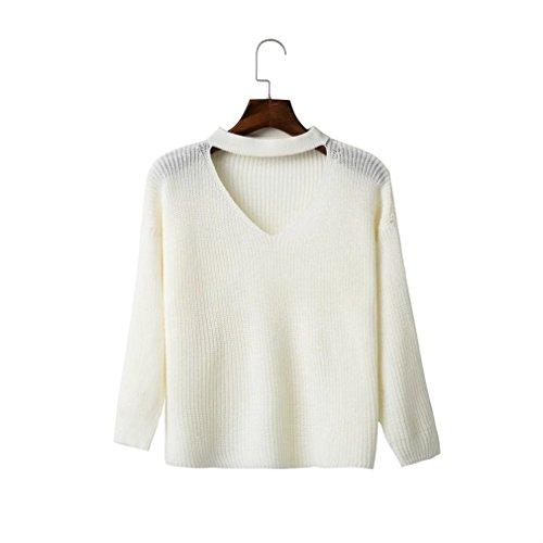 Honghu Femme Casual Loose Manches Longues Collier V Kurz Pulls Basic Loisirs Sweater Blanc