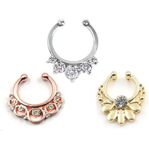 3pcs CALDO unisex Clip On Setto Piercing sul naso falso Anello da naso del cerchio non Piercing gancio Tribal Gioielli Fan strass Clicker (anello naso)