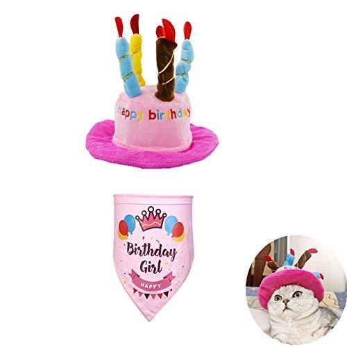 Für Welpen Kostüm Box - Kuiji Haustier-Geburtstagshut mit Halstuch, verstellbare Katzenhut mit bunten Kerzen, Hunde-Geburtstags-Schal, für große mittelgroße kleine Hunde und Katzen und Welpen, Party-Zubehör, Rosa