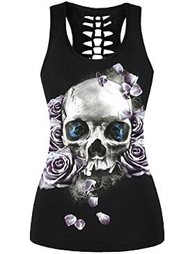 EmilyLe Mujer 3D Impresión Digital Gothic Punk Skull Tank Top sin mangas Stretch Vest