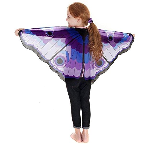 Schmetterling Kostüm, Dasongff Kind Kinder Jungen Mädchen Böhmischen Schmetterling Print Schal Pashmina Kostüm Zubehör Butterfly Wing Cape Kimono Flügel Schal Cape Tuch (118*48cm, Blau)