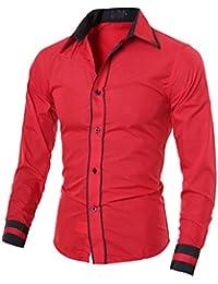 Homme Chic Chemises habillées de Loisirs du sport Manches Longues Couleurs contrastées Slim Fit