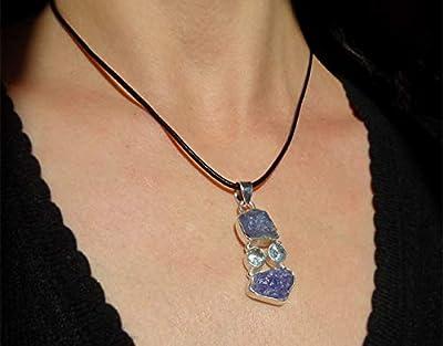 """Pendentif ethnique pierre tanzanite brute de forme en argent massif 925, motif""""retour à la nature"""", pièce unique, pendentif à vendre sans la chaîne"""