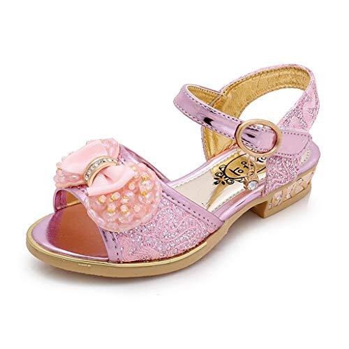 koperras Kinder MäDchen BöGen Strass Prinzessin Schuhe Einzelne Schuhe Tanz Sandalen Performance Shows Toe Slip -