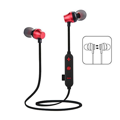 Bescita Bluetooth Sport in-Ear Kopfhörer, TF MP3-Flash-Speicherkarte SD-Karte V4.2 Stereo Magnetischer Sport Ohrhörer mit 10 Meter Reichweite, Eingebautes Mikrofon für iPhone, Huawei und Samsung (Rot)