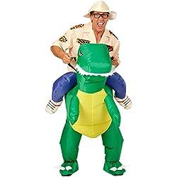 Traje Descubridor Hinchable | Disfraz Montando en Dinosaurio | Traje Saurio a Cuestas | Disfraz Inflable Aventurero
