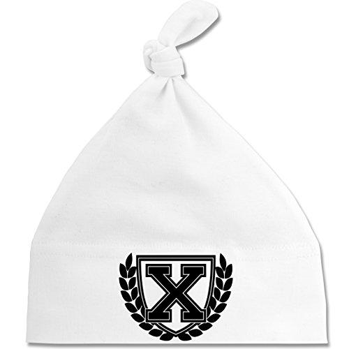 Shirtracer Anfangsbuchstaben Baby - X Collegestyle - Unisize - Weiß - BZ15 - Baby Mütze mit einfachem Knoten als Geschenkidee
