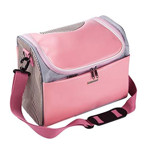 Haustier Reisetasche Pet Handtasche Anti-Quetschen PU-Leder atmungsaktiv tragbare Falten Dual-Use-Hund und Katze Outdoor Umhängetasche Reisetasche 40 * 22 *   29CM (Farbe : Rosa) -