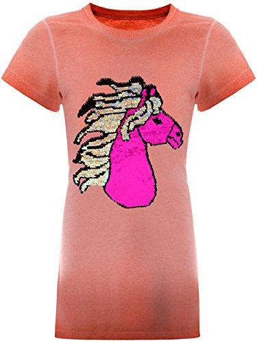e Pailletten Tunika Long-Shirt Pferde-Motiv Kurzarm Kleid 22494, Farbe:Lachs, Größe:152 (Samt Kleid Weihnachten)
