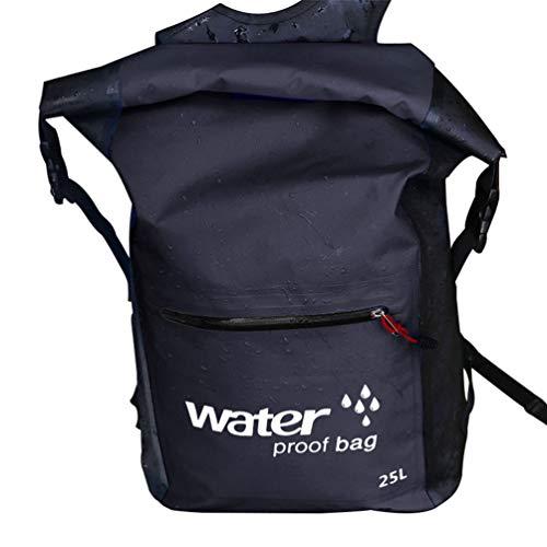 Baijiaye Bolsa estanca Impermeable Bolsas Secas Impermeable Seca PVC para Playa y Deportes al Aire Rafting Kayak Senderismo Canotaje Esquí Pesca Escalada Mochila Negro 25L
