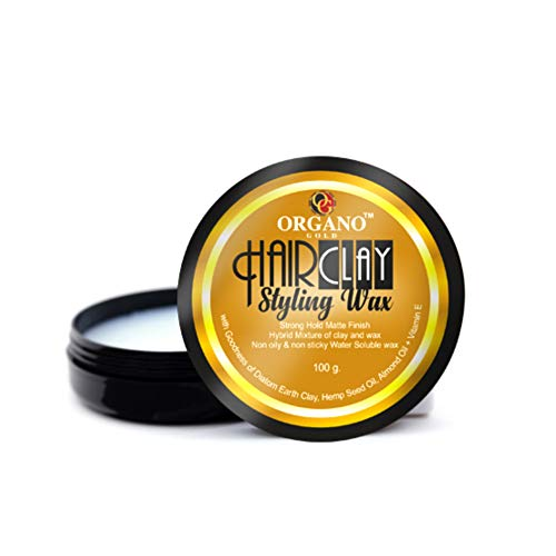 Organo Gold Natural Hair Clay Wax with Vitamin E & Almond Oil for Men Stylish Restyling and Matte Texture Clay, 100 gms