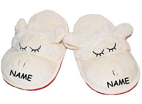 Hausschuhe / Pantoffel -  Schaf  - incl. Name - Größe 41 - 42 - 43 - Plüschhausschuh - super weich - für Kinder & Erwachsene - Tierhausschuhe - Tier / Schaf.. ()