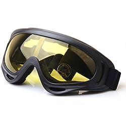 QMFIVE Tactique UV400, Airsoft Protection Anti-poussière Contre Le Vent Lunettes Tactiques Lunettes de Moto Lentille Transparente pour la Chasse Cyclisme Ski Tennis Tactique en Plein air (Jaune)