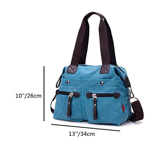 ZENTEII Frauen Leinen Handtasche Schultertasche Blue